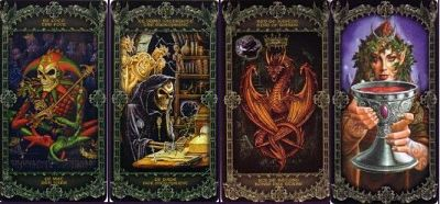 Examples of cards in the Alchemy 1977 England Tarot Deck