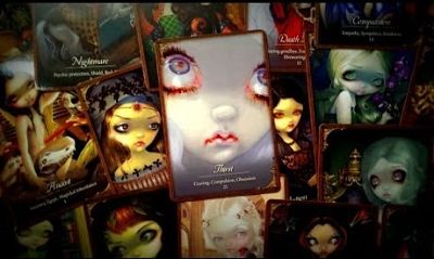 Les Vampires Oracle deck, again by Lucy Cavendish and Jasmine Becket Griffith